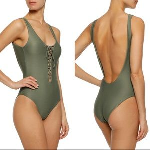 NWT ONIA Bridget Ribbed Lace Up Front One Piece